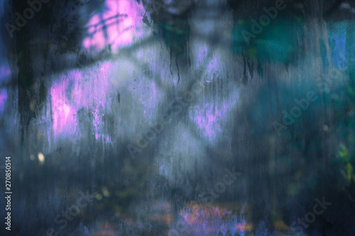 Photo sur Toile Les Textures Old dirty dusty window glass with mystical.reflection