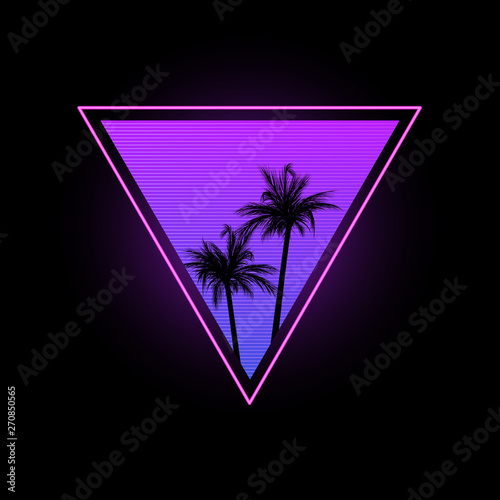 Papel de parede  Triangle with palm trees in the style of the 1980s.