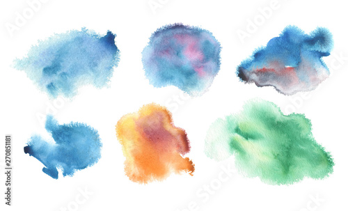 Abstract blue watercolor blot painted background. Isolated.