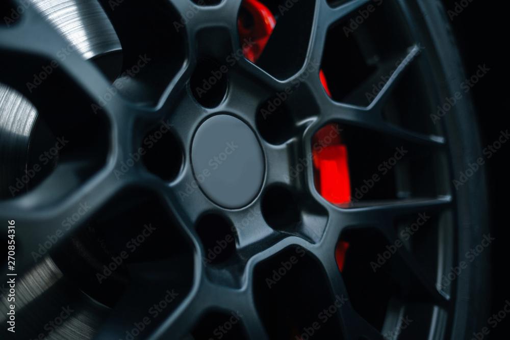 Fototapety, obrazy: Car braking system. Sport car front wheel support brake