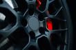 Leinwandbild Motiv Car braking system. Sport car front wheel support brake