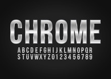 Font Alphabet And Number Chrome Effect Vector