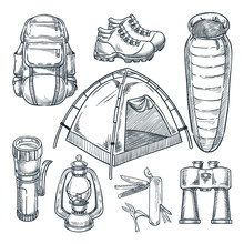 Camping Hike Items Set. Vector Hand Drawn Sketch Illustration. Camp Stuff Design Elements Isolated On White Background