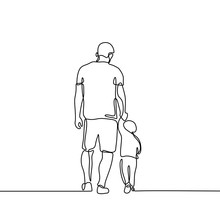 Father Holding His Son Walking Continuous One Line Drawing