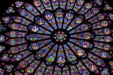 PARIS – FRANCE: The North Rose window at Notre Dame cathedral dates from 1250 and is also 12.9 meters in diameter. Its main theme is the Old Testament.