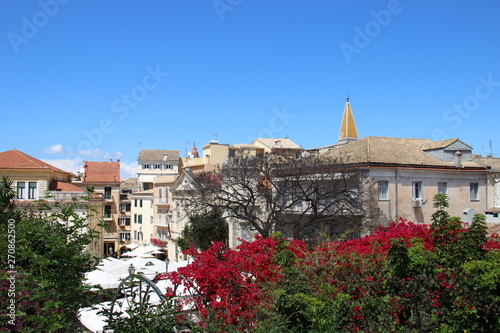 Photo sur Aluminium Con. Antique Corfu City View And Building With Blooming Pink Bougainvillea. Greece