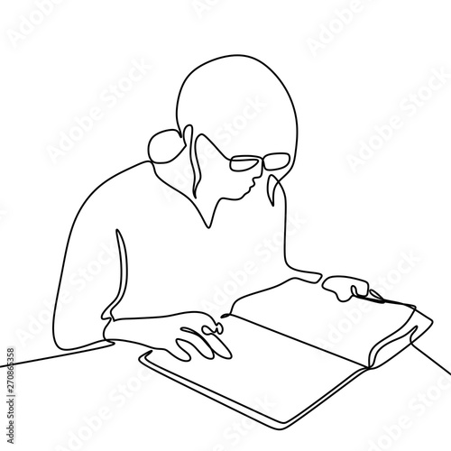 Continuous Line Drawing Of Girl Wearing Glasses Read Book