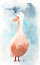 Watercolor Card Or Poster With A Pretty Goose On A Blue Background. Isolated Hand Drawn Painting