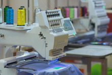 Professional And Industrial Embroidery Machine. Production