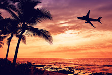 Tropical Sunset With Palm Tree And Airplane Silhouettes In Hawaii. Travel And Vacation Concept.