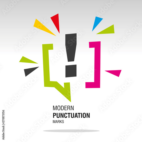 Fototapeta Exclamation mark modern colorful punctuation sign icon sticker