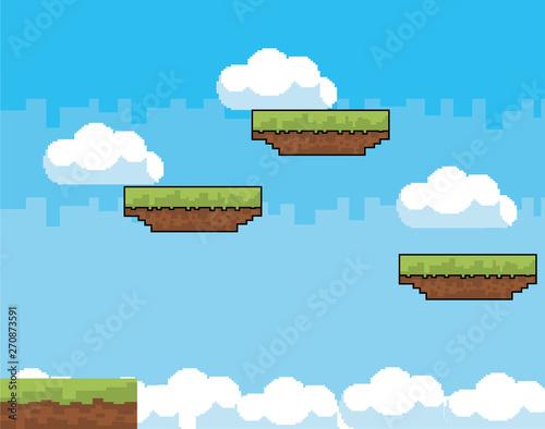 Arcade game world and pixel scene design  vector illustration Fototapete