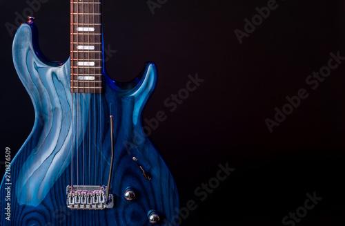 Electric Guitar, dark blue woodgrain, 6 String isolated on black - 270876509