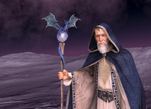 Wizard In Desolate Landscape