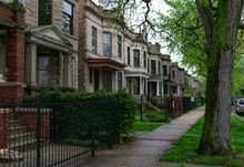 Row Of Old Homes In Logan Square Chicago
