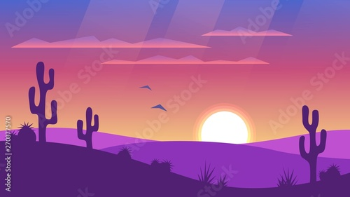 Poster Prune Desert landscape with sunset and silhouettes of cacti. Wild West