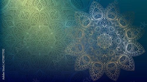 Photo  Background with golden mandalas, round indian pattern, muslim pattern