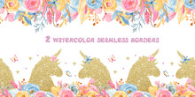 Watercolor Seamless Border With Unicorns, Flowers, Rainbow, Gold. Texture For Baby Shower, Wallpaper, Packaging, Fabric, Nursery, Prints.