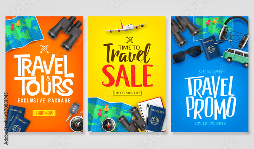 Fototapeta Travel Poster Vector Set Template with Creative Stylish Text Logo and Realistic 3D Traveling Item Elements Good for Digital and Print Design
