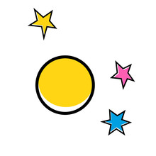 Yellow Planet Geometric Illustration Isolated On Background