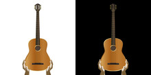 Acoustic Guitar In Hand. Isolated Object On White And Black Background.