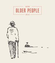 Elderly Man Cane Walking Pond Park Vector Sketch