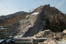 Huanghuacheng China, Abandoned Section Of Great Wall Of China With Snow