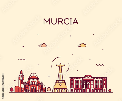 Murcia skyline Spain vector drawn linear style