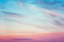 Marshmallow Pink Dawn On The Sky, Background, Horizontal. Space For Text.