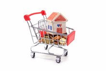 House Model In Mini Shopping Cart With Stack Of Coins Money On White Blackground