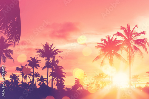 Cadres-photo bureau Palmier Tropical palm tree with colorful bokeh sun light on sunset sky cloud abstract background.