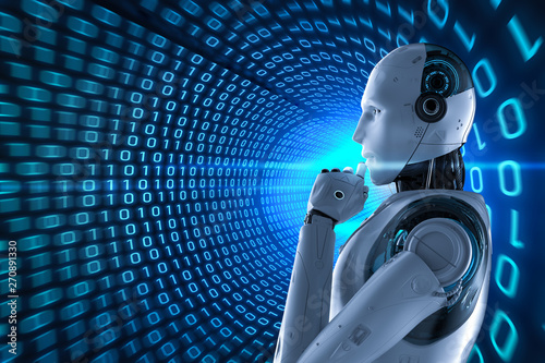 Foto auf Leinwand Akt Robot with binary tunnel background