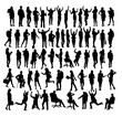 People Standing and Activity Silhouettes, art vector design