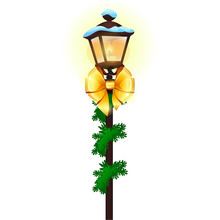 Vintage Street Lamp Decorated With Golden Ribbon Bow Isolated On White Background. Sample Of Poster, Party Holiday Invitation, Festive Card. Vector Cartoon Close-up Illustration.