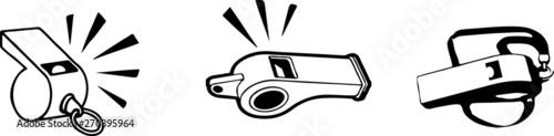 Valokuva whistle icon on white background