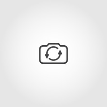 Rotate Camera Icon. Switch From Front To Back Camera Vector Icon