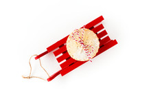 Mince Pie On Red Wooden Sledge Isolated On White