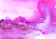 Leinwanddruck Bild - Watercolor bush, a tree. pink, purple silhouette of trees against the background of sunset, sunrise.Watercolor landscape, forest.Suburban landscape at sunset. Bank of the river, reflected in the water