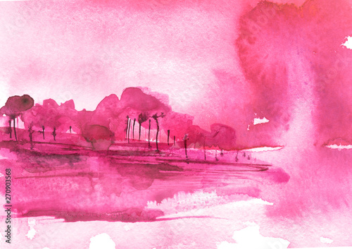 Watercolor bush, a tree. pink, purple silhouette of trees against the background of sunset, sunrise.Watercolor landscape, forest.Suburban landscape at sunset. Bank of the river, reflected in the water
