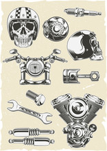 Vector Set Of Motorcycle Parts Vector Illustration