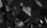 Abstract 3d rendering of chaotic particles. Scifi cubes in empty space. Futuristic background. 3D rendering - Illustration