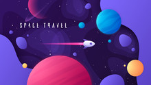 Vector Illustration On The Topic Of Outer Space, Interstellar Travels, Universe And Distant Galaxies