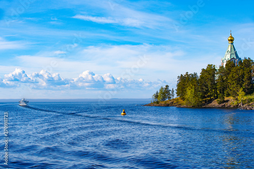 Lake Ladoga, fairway of the bay of the island of Valaam Wallpaper Mural