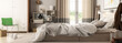 canvas print picture Modern Bedroom Arrangement (panoramic) - 3d visualization