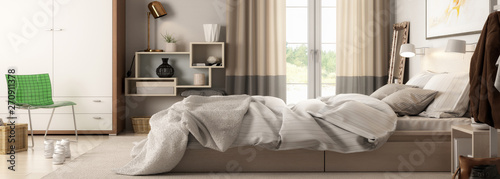 Photo  Modern Bedroom Arrangement (panoramic) - 3d visualization