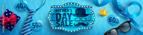 Canvas Prints Textures Father's Day Sale with vintage blue wooden board,blue necktie,glasses and gift box on blue background.Promotion and shopping template for Father's Day.Vector illustration EPS10