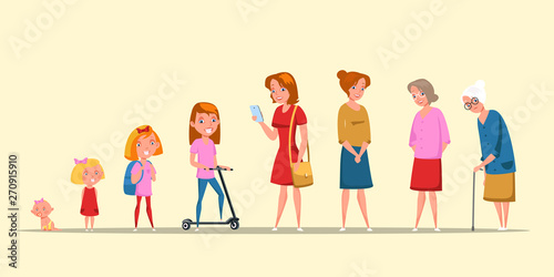 Photo  Woman life cycle, stages flat vector illustration
