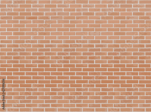 Orange brick wall seamless Vector illustration background. Texture pattern for continuous replicate - 270916316
