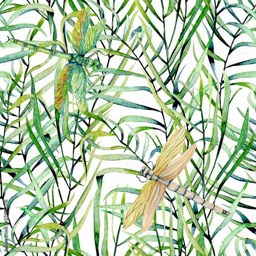Türaufkleber Künstlich Watercolor fern leaves and dragonflies seamless pattern, hand drawn on a white background