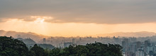 Layers Of Panorama Taipei Cityscape And Mountains With Sunlight When The Sun Going Down That View From Xiangshan Elephant Mountain In The Evening In Taipei, Taiwan.